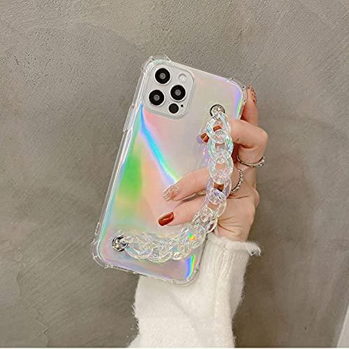 LIUYAWEI Funda Blanda de acrílico Transparente con Cadena de Pulsera Colorida para iPhone 12 Pro MAX Mini 11 Pro MAX X XS XR 7 8 6 Plus SE 2020 Funda, A, para iPhone 7