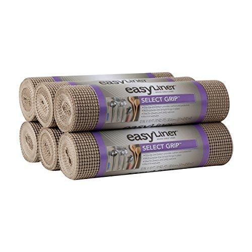 "Duck Select Grip Easy Liner Shelf Liner, Top Cabinet Multipack, 6-Rolls, Each 12"" Width, 10' Length, Brownstone"