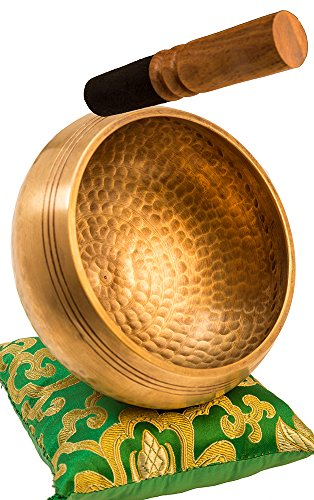 "Tibetan Singing Bowl Set By YAK THERAPY- Chakras Healing & Meditation Yoga Sound Bowl with Mallet, Silk Cushion, Silk Bag, 4.5"" Tibetan Bell, Buddhist Bowl Made in Nepal includes Gift Ebook by Email"