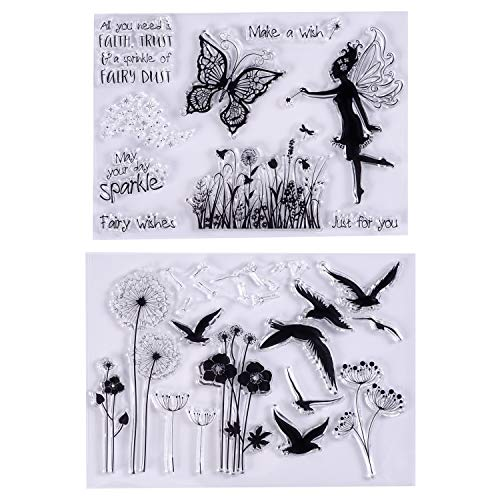 MaGuo Clear Stamps Wild Goose, Dandelion, Butterfly, Flower Fairy for Card Making Decoration and DIY Scrapbooking