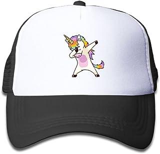 Oiir Ooiip Unicorn Dabbing Boy-Girl Adjustable Mesh Baseball Cap Kid's Trucker Hats