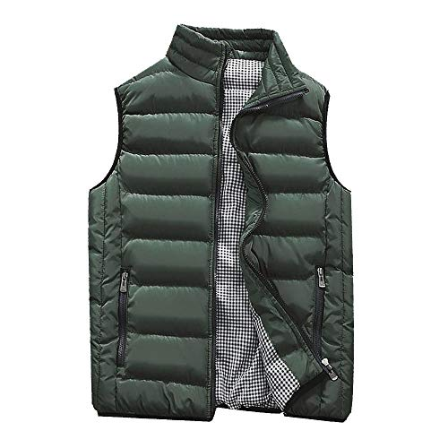 KEERADS HOMME Veste Gilet Casual Chaud Doudoune Vest sans Manche Manteau Blouson Zipper Automne Hiver(FR-54/XL,Vert d'armée)