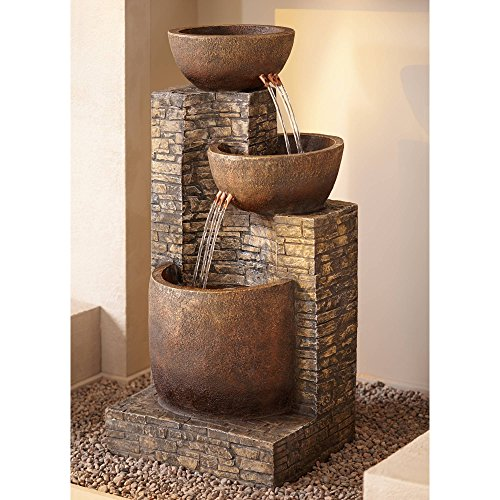 "Mason 35"" High Faux Stone LED Floor Fountain"