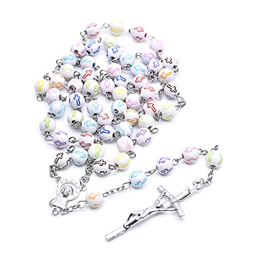 S-TROUBLE Collana Rosario Gesù Cristo Croce Collane con Ciondolo Perline Catena Lunga Uomo Donna Gioielli Moda Cristiana Regalo