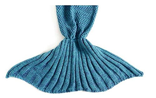 ourbest Meerjungfrau Schwanz Decke Stricken Schlafsack Schlafsack Decke Handwerk für kids- Lake Blue & # xff08; 140x 70,1cm & # xff09;