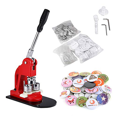 BEAMNOVA Button Badge Maker Machine 1 inch with 1000 Button Parts and Circle Cutter