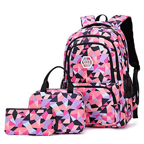 VBG VBIGER Carvas Backpack for Boys & Girls School Bags Polka Dot Backpack 3pcs Kids Book Bags Lunch Bags Purse (Pink-red)