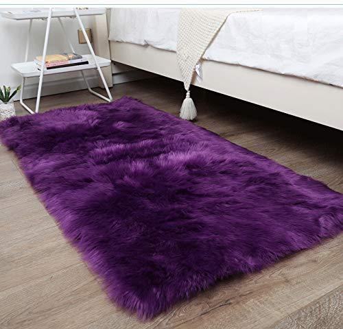 BENRON Faux Sheepskin Fur Super Soft Living Room Rugs, Luxury Bedroom Faux Fur Rugs, Rectangle Warm Shaggy Area Rug 2X3 Feet Purple