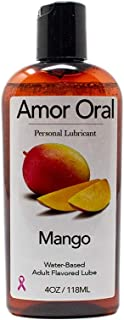 Amor Oral Mango Flavored Lube - Edible, Water Based, Flavored Personal Lubricant for Women, Men, Couples, 4 oz (Mango)