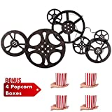 Kitchow Antique Bronze Metal Movie Reel Wall Art, Including 4 Popcorn Boxes