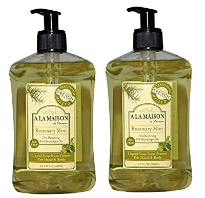 A La Maison de Provence Rosemary Mint Liquid Hand & Body Soap (Pack of 2) 16.9 Fl Oz Each