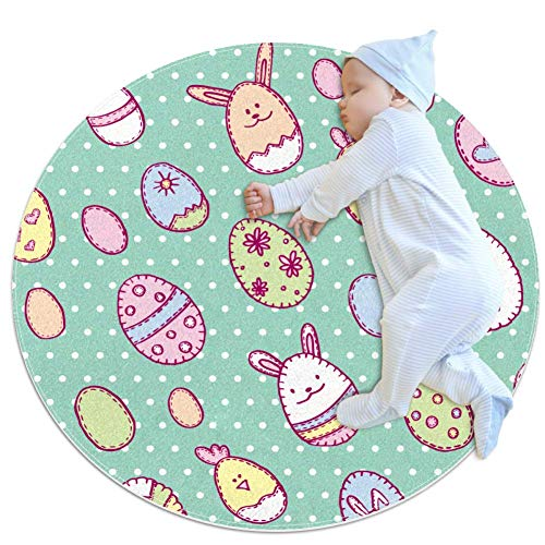 Happy Easter With Oggs Lapins And Poulets Baby Play couverture bébé bébé rond tapis de jeu épaissie bébé ramper pad 27,6x27,6IN, multicolore 03, 100x100cm/39.4x39.4IN