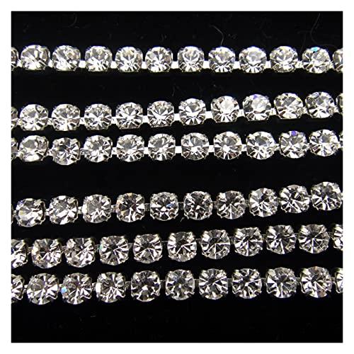 Cadena de copa de diamantes de imitación 10 yardas / r de alta densidad SS6 2mm SS8 2.5mm SS10 2.8mm SS12 3mm SS16 SS16 4mm Cristal de cristal transparente Cadena de plata cosida en pegamento en el re