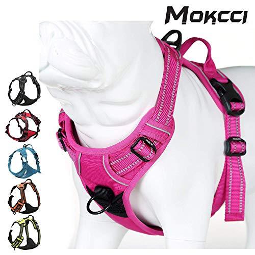 Mokkci Truelove Hundegeschirr, weich, reflektierend, kein Ziehen, mit Griff und 2 Leinenbefestigungen
