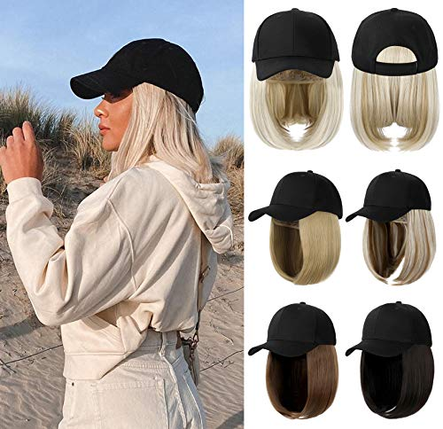 XBwig Baseball Cap Wigs For Women Black Hat With BoB Hair Extensions Attached Synthetic Hairpieces Short Wig Adjustable Caps With Magic Paste Ash Blonde Mix Bleach Blonde