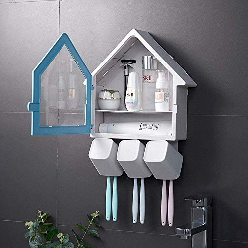 Toothbrush Holder House Shape Wall-Mounted No Or Nail Needed Toothbrush Holder with 3 Cups Bathroom Storage Suitable for Bathroom (Color : Pink Size : 34x27x8cm)-34x27x8cm_Blue Excellent