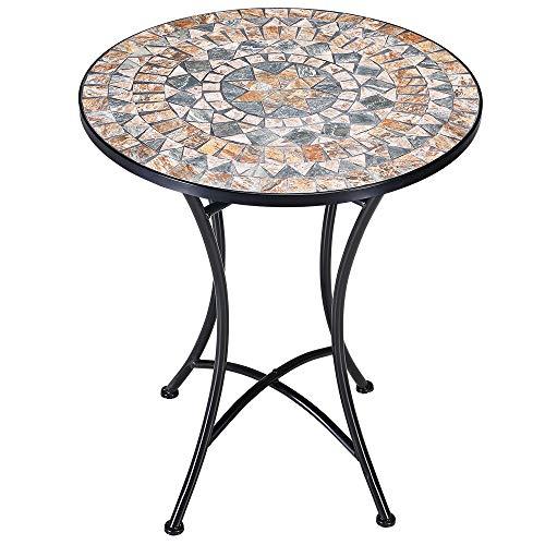 Deuba Mosaiktisch Gartentisch Malaga Ø 60 cm Rund Handgefertigte Mosaik Gestell Wetterfest Balkontisch Bistrotisch Kaffeetisch Garten Tisch