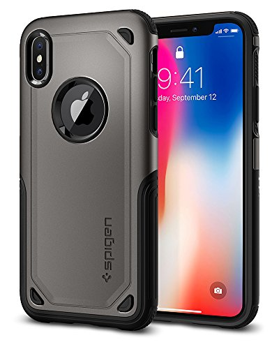 Spigen Hybrid Armor iPhone X Case with Air Cushion Technology and Secure Grip Drop Protection for Apple iPhone X (2017) - Gunmetal