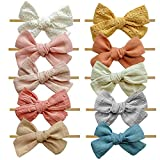 Mai Bebe Baby Bow Headbands - 10PCS Baby Girl Nylon Headbands - Bows on Nylon Headband for Newborn,...