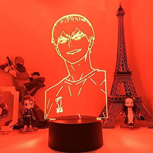 Lámpara de ilusión 3D luz de noche LED anime haikyuu kageyama tobio figurín dormitorio habitación decoración iluminación fresco niños regalo de cumpleaños navidad