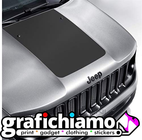 Grafichiamo Adesivo Cofano Jeep Renegade Sticker Jeep Bonnet (Nero Opaco)