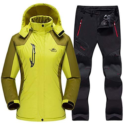 AXIANNV Wasserdichter Skianzug Damen, Skijackenhose Damen Winter, GrasgrünSchwarz, XXL