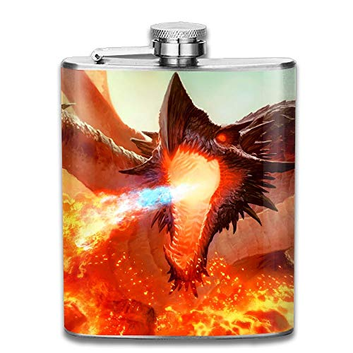 Presock Flachmann,Ancient Hellkite Dragon Magic The Gatherin Gifts Top Shelf Flasks Stainless Steel Flask 7 OZ for Men Women