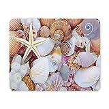 Yanteng Cojín de ratón del Juego, cojín de ratón Cáscaras del mar con el Coral y Las Estrellas de mar llenaron el cojín de ratón no del resbalón