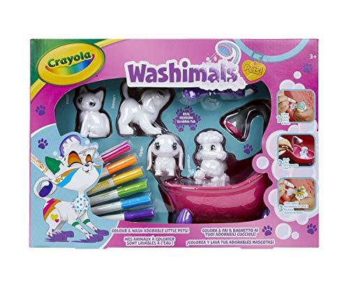 CRAYOLA Washimals Set Attività, per Colorare e Fare il Bagnetto ai 4 Cuccioli, Gioco e Regalo, da 3 Anni