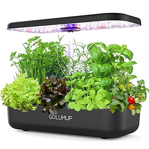 GOLUMUP Sistema de Cultivo Hidropónico Kit de Cultivo Interior con Luz de Crecimiento LED de Espectro Completo, Huerto Interior con 12 Vainas, Bomba de Agua y Dual Modo Automático - Negro