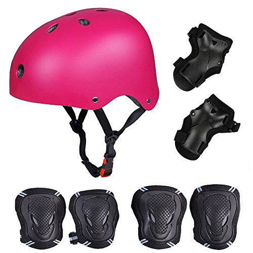 Skateboard / Skate Protektoren Set mit Helmet -- Skate Helmet Knie Pads Elbow Pads mit Handgelenkschoner für Skate, Skateboard, Roller Skate, BMX, Bike und anderen Extreme Sports,für Kopf M (52-57 cm) Rose Rot