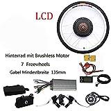 BTdahong 26' Kit de Conversión E-Bike, Kit de Motor de Bicicleta Eléctrica de 48V 1000W LCD para Rueda Trasera