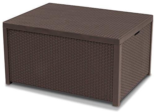 Koll Living opbergtafel bruin - tafel met kussenboxfunctie in natuurgetrouwe rotanlook - kan veelzijdig worden gecombineerd - 79 x 59 x 42 cm
