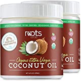 Roots Circle USDA Organic Extra Virgin Coconut Oil 2-16oz Jar | For Cooking, Baking, Frying | Nourishes & Hydrates Hair, Skin & Nails | Dairy-Free, Gluten-Free, Non-GMO, Kosher, Vegan, Keto & Paleo