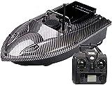 Barco Cebador Pesca RC Señuelo Navegación Navegador Buscador de Peces con Luz de Visión Nocturna LED Motor Doble-Black-Black