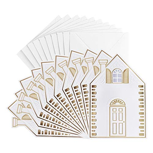 Grußkarten, Haus, geprägt & folienveredelt, naturweiß, B6, inkl. Umschläge, 10 Stück