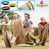6 Player Carnival Games Potato Sack Race Bags, Egg and Spoon Race, Legged Relay Race Bands Elastic Tie Rope for Kids and Family Activity, Holiday Easter Eggs Hunt Outdoor Game, Birthday Party Lawn Yard Carnival Games