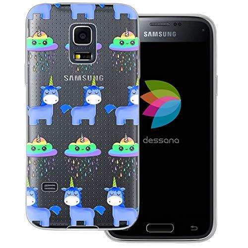 dessana - Cover trasparente con unicorno, per Samsung Galaxy S5 Mini, motivo: unicorno magico