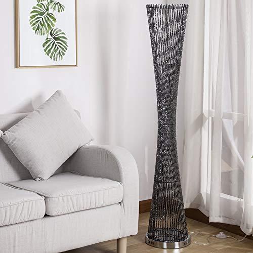 WUYUESUN Moderna lámpara LED de pie de aluminio para sala de estar, soporte de luz, vestíbulo, hogar, luces decorativas AC90-26V (Color del cuerpo: blanco frío, pantalla de lámpara: negro)