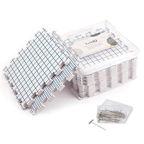 KnitIQ Tapetes de Bloqueo de Doble Cara – 9 Tablas bloqueadoras extra gruesas con rejillas en PULGADAS y CM, 100 Alfileres T y Bolsa de Almacenamiento para Bordados o Crochet