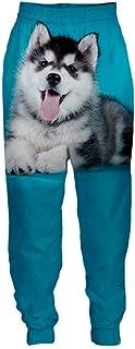 Streetwear Pantaloni Casual per Adulti novità Pantaloni da Uomo con Stampa 3D Animal Siberian Husky Dog