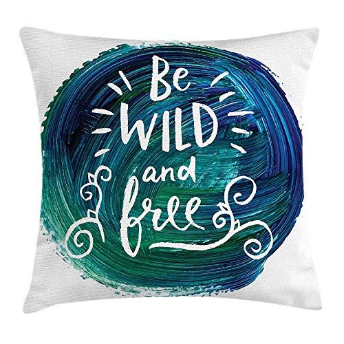 Wild en gratis gooien kussen kussensloop, aquarel verf smeert met Be Wild en gratis logan en krullen, decoratieve vierkante Accent kussensloop, 18 X 18 inch, groen blauw en wit