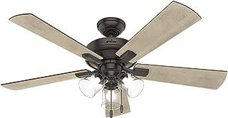 Hunter Indoor Ceiling Fan, with pull chain control - Crestfield 52 inch, Nobel Bronze, 54205