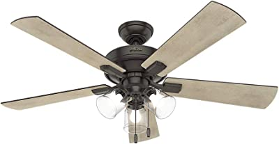 """Hunter 54205 Crestfield Indoor Ceiling Fan with LED Lights and Pull Chain Control, 52"""", Noble Bronze"""