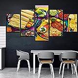 5 Pintura En Lienzo Carteles De Decoración De Cocina Para El Hogar De Restaurante, Comida Abundante, Tortilla, Arroz, Salsa Picante Mexicana, Lienzo Hd, Menos Pintura De Pared-Enmarcado