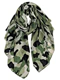 GERINLY Scarves - Lightweight Travel Scarf Camouflage Print Shawl Wrap (Olive)