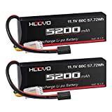 HOOVO 11.1V 60C 5200mAh 3S LiPo Battery with TRX Plug for RC Car RC Truck RC Boat Hobby (2 Packs)