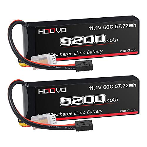 HOOVO 11.1V 3S LiPo Battery 5200mAh 60C with Tr Plug for RC Car RC Truck Airplane Helicopter Boat Car Racing RC Hobby (2 Packs)