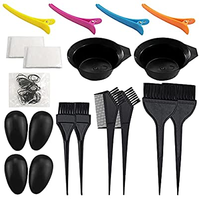 21 Packs Hair Dye Coloring Kit, Sonku Dye Brush Comb Mixing Bowl Ear Caps Shower Cap Disposable Gloves Apron Sectioning Clips and Hairbands for DIY Salon Hair Dye Tool