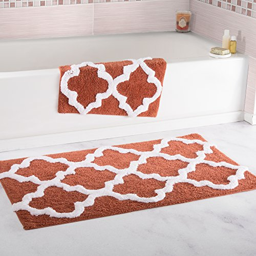 Lavish Home 100% Cotton 2 Piece Trellis Bathroom Mat Set - Brick